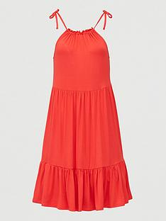 v-by-very-tiered-jersey-tie-shoulder-short-dress-red
