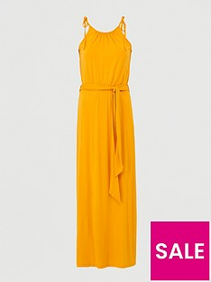 v-by-very-scoop-neck-tie-waist-maxi-dress-yellow