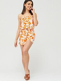 v-by-very-strapless-button-down-jersey-playsuit-orange-print