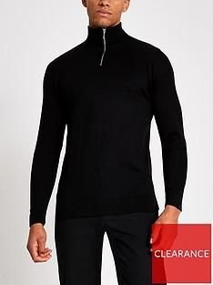 river-island-black-half-zip-slim-fit-knitted-jumper