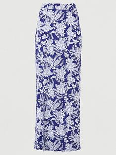 v-by-very-split-side-jersey-maxi-skirt-navy-print
