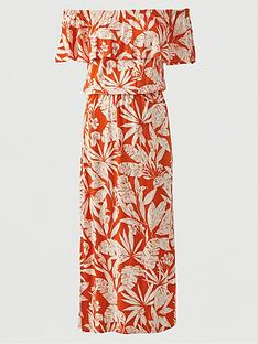 v-by-very-bardot-frill-jersey-midi-dress-orange-print