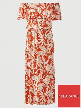 v-by-very-bardot-frill-jersey-midi-dress-orange-print