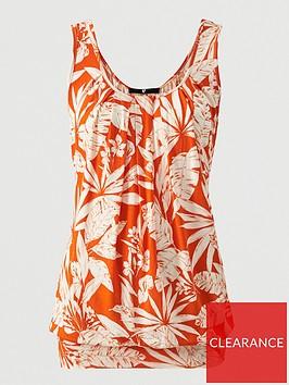 v-by-very-scoop-neck-bubble-hem-vest-orange-print