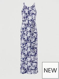 v-by-very-scoop-neck-tie-waist-maxi-dress-navy-print