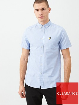lyle-scott-short-sleeved-oxford-shirt-light-blue