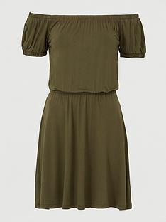 v-by-very-bardot-elastic-waist-jersey-mini-dress-khaki