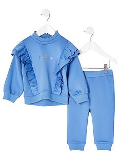 river-island-mini-mini-girls-frill-scuba-sweat-and-jogpant-set-blue