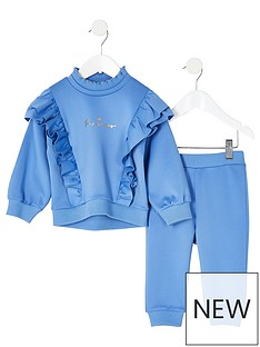river-island-mini-mini-girls-frill-scuba-sweat-and-jogpant-set-blue