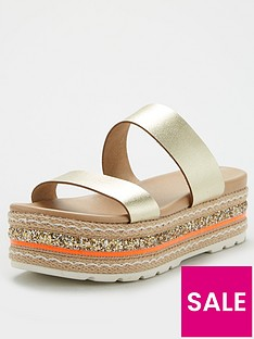 v-by-very-hollo-leather-neon-glitter-trim-flatform-sandal-gold