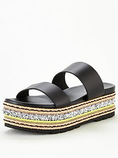 v-by-very-hollo-leather-neon-glitter-trim-flatform-sandals-black