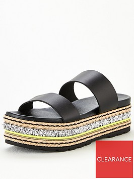 v-by-very-hollo-leather-neon-glitter-trim-flatform-sandals-black