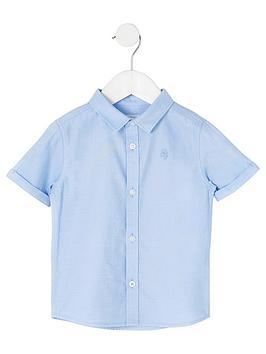 river-island-mini-mini-boys-short-sleeve-twill-shirt-blue