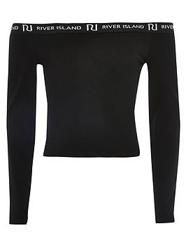 river-island-girls-long-sleeve-bardot-top-black