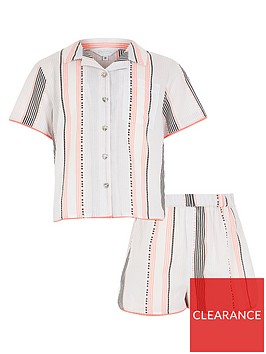 river-island-girls-short-sleeve-stripe-pyjama-set-white