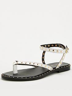 v-by-very-herbik-leather-studded-toepost-sandal-white