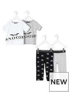 river-island-mini-mini-boys-snooze-print-2-pack-pyjama-set-grey
