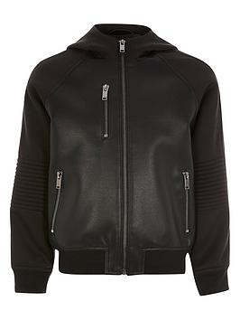 river-island-boys-faux-leather-hooded-bomber-black