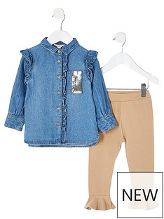 river-island-mini-denim-shirt-set-and-caramel-legging
