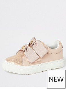 river-island-mini-mini-girls-bow-strap-trainers-pink