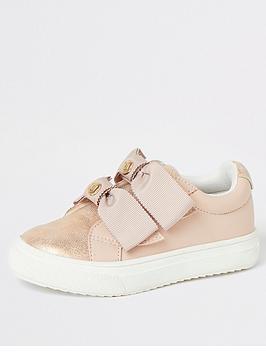river-island-mini-mini-girls-bow-strap-trainers-pink