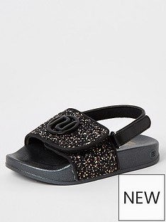 river-island-mini-mini-girls-glitter-slider-black