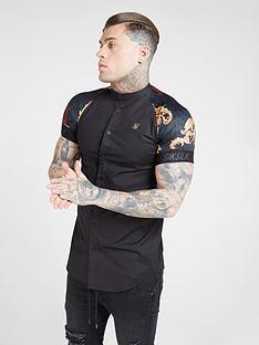 sik-silk-short-sleeve-grandad-collar-shirt-black