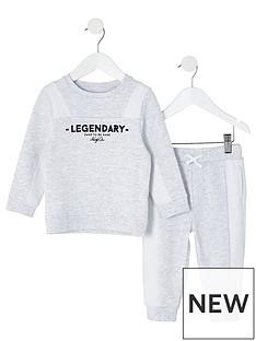 river-island-mini-mini-boys-legendary-sweat-and-jogpant-set-grey
