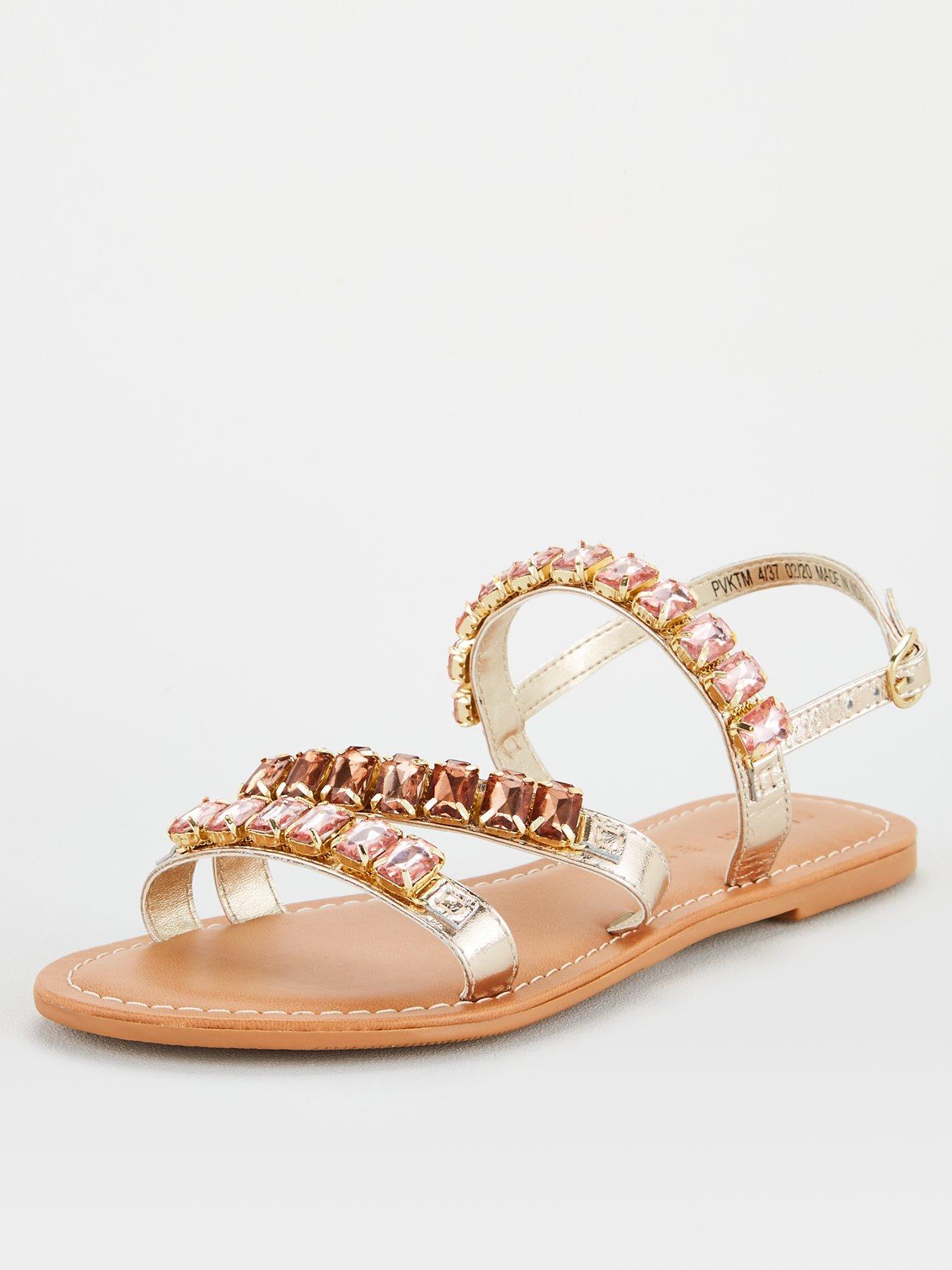 Boho Chic Beaded Sandals Strappy Sling Back Embellished Gold Party Flip Flops