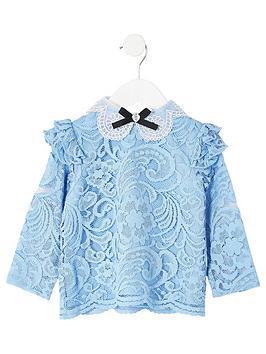river-island-mini-mini-girls-lace-bow-collar-top-blue