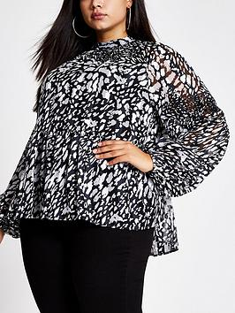 ri-plus-ri-plus-printed-long-sleeve-blouse--blackwhite