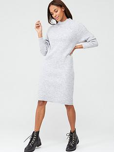 v-by-very-knitted-grown-on-neck-midi-dress-greymarl