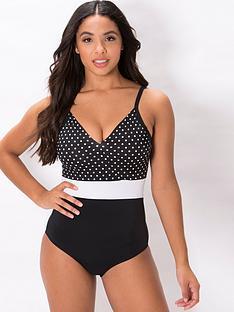 pour-moi-highline-spot-v-neck-control-swimsuit-black