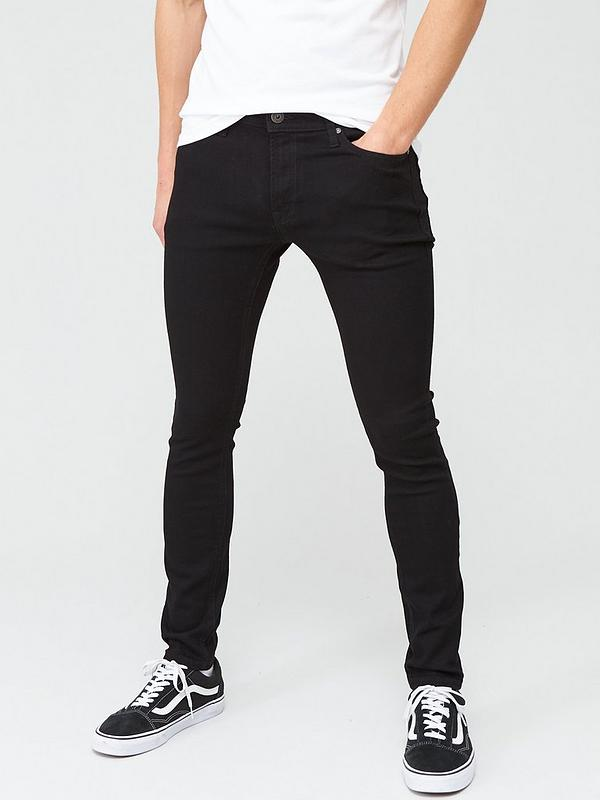Simmetria Volo doppio strato  Jack & Jones Intelligence Liam Skinny Fit Jeans - Black | very.co.uk