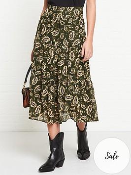 sofie-schnoor-solvej-leaf-printed-midi-skirt-green
