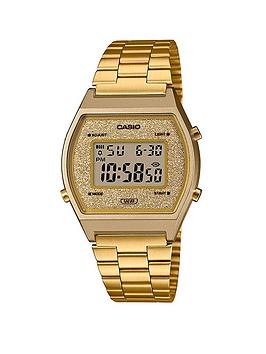 Casio Retro Vintage Gold Glitter Digital Dial Gold Stainless Steel Bracelet Watch