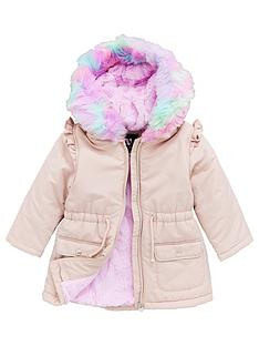 v-by-very-girls-shower-proofnbspmulti-faux-furnbspparka-pink