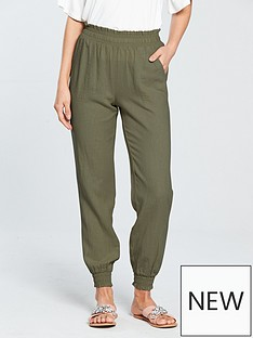 v-by-very-shirred-waist-linen-blendnbspjogger-khaki