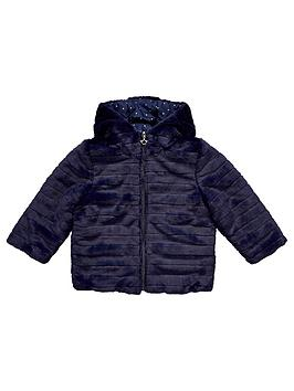V By Very Girls Reversible Padded Faux Fur Coat - Print/Colour