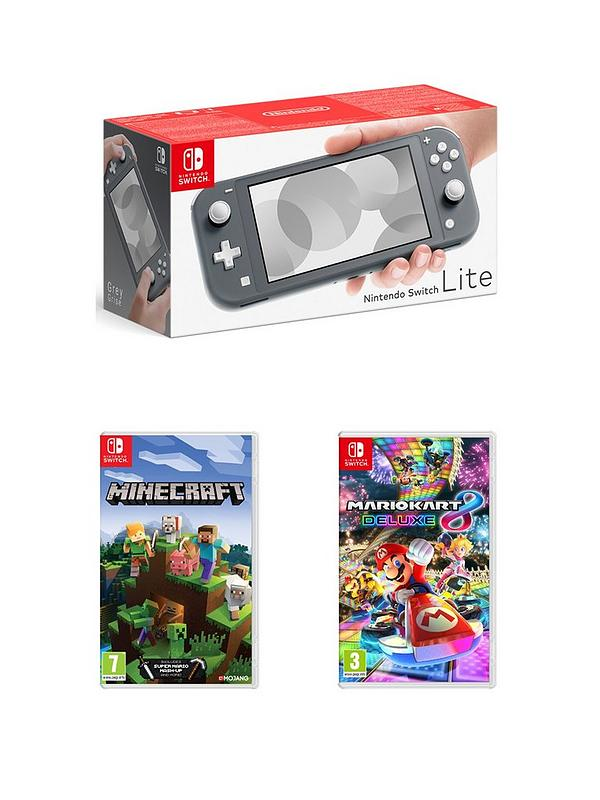 Nintendo Switch Lite Grey Console With Mario Kart 8 Deluxe And Minecraft