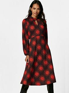 wallis-petite-cluster-heart-high-neck-swing-dress-red
