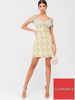 missguided-missguided-floral-spot-print-square-neck-mini-dress-yellow
