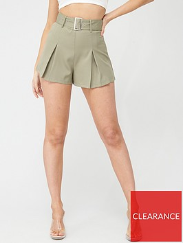 missguided-missguided-belted-tailored-shorts-mint