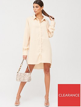 missguided-missguided-textured-utility-shirt-dress-peach