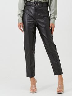 missguided-missguided-faux-leather-belted-seam-detail-cigarette-trouser-black