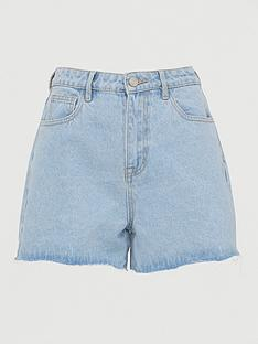 missguided-missguidednbspa-line-denim-shorts-denim-blue