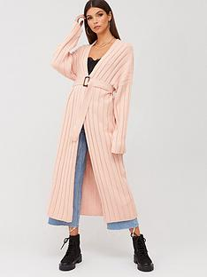 missguided-missguided-ribbed-balloon-sleeve-longline-cardigan-apricot