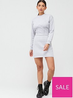 missguided-missguided-corset-detail-sweater-dress-grey