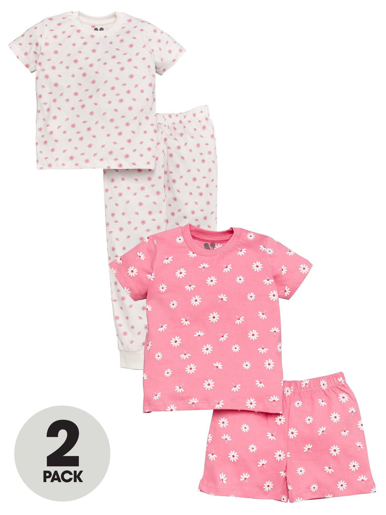 BNWT Girls Pink /& Yellow Patterned 2 Pack Dresses Age 4-5 Years