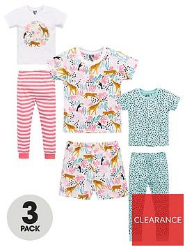 v-by-very-girlsnbsp3-pack-jungle-pyjamas-multi